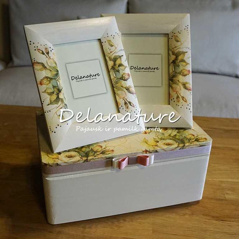 Dekoruota dėžutė ir 2 rėmeliai